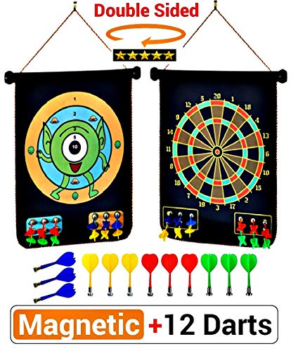 Magnetic 2 Darts - PremiumExclusives 2019 Magnetic Dart Board | Double Sided Rollup Dart Board for Kids or Adults | Easily Hangs Anywhere | 12 Safe Darts of 4 Color and 2 Dart Games for Awesome Family Fun | No:1 Gift