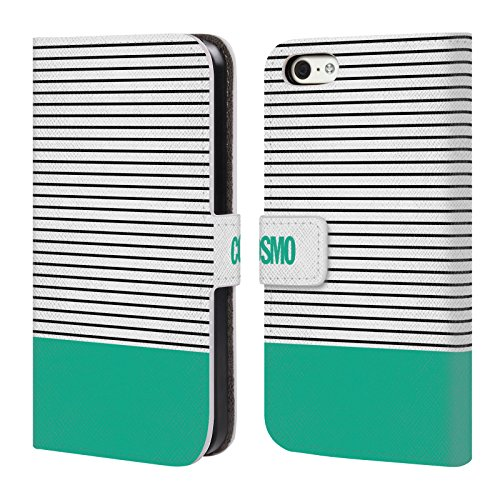 Official Cosmopolitan Teal 1 Stripes Collection Leather Book Wallet Case Cover For Apple iPhone 5c