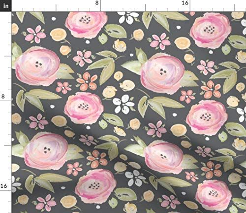 Pink And Gray Flowers Fabric - Watercolor Floral In Botanical Grey Modern Nursery Organic Kni Painted Print on Fabric by the Yard - Lightweight Cotton Twill for Sewing Bottomweight Fashion Apparel