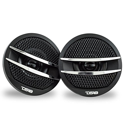 - DS18 TX1S Tweeter X1 1.38-inch 200 Watts Max Pei Dome Ferrite Tweeters with Mounting Kit Angle, Flush, Surface - Set of 2 (Black/Silver)