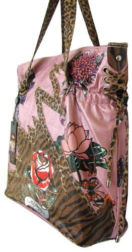 Ed Hardy Baby Diaper Bag Pink Lace up Poppy Design w  Animal Print ... 1bc485322a788