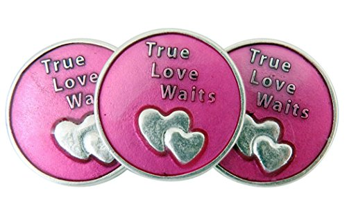 Religious Gifts Pink Enamel True Love Waits Double Heart Purity Pocket Token, Lot of 3, 1 1/8 -