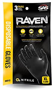 SAS Safety 66511 Raven Powder-Free Nitrile Gloves, Large, 3-Pack