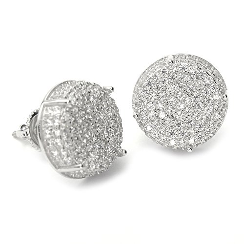 (Men's Full Iced Out Cubic Zirconia Round Setting Screw Back Earring BE 11403 (Silver Plated))