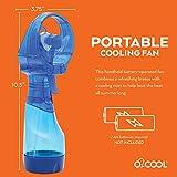 "O2COOL Deluxe Misting Personal Fan, 2.5"", Dark Blue"