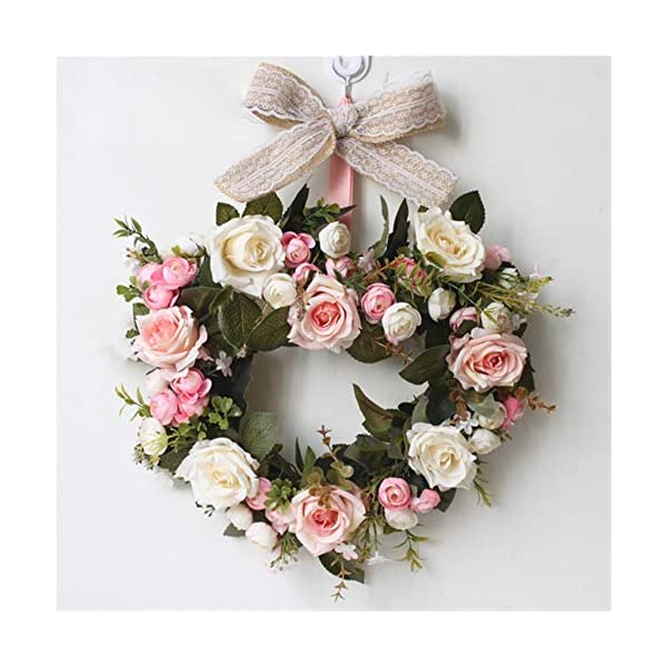 Liveinu Handmade Floral Artificial Simulation Peony Flowers Garland Wreath Wedding Table Centerpieces for Home Party Decor 14″ Heart Shape Pink Door Wreath with Bow