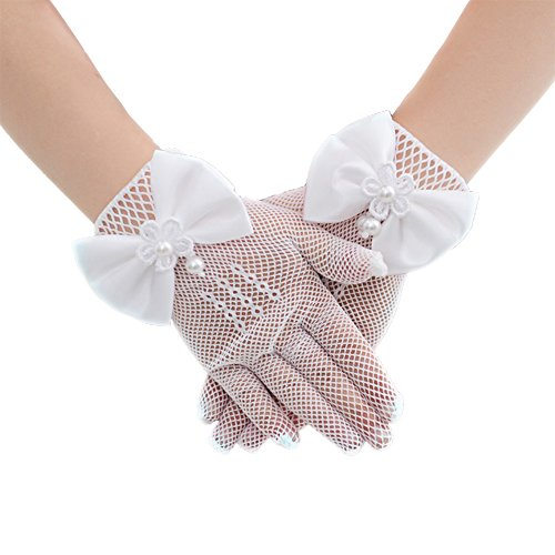 Tandi Girls Gorgeous Satin Fancy Gloves for Special Occasion Dress Formal Wedding Pageant Party Short (Pure White, One Size Fit 3-13 - Satin 10 Gloves