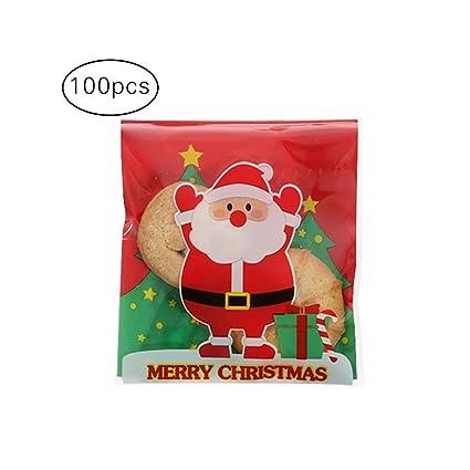 Cosanter 100 x Bolsas de Galletas Autoadhesivo de Navidad, Treat Bolsas para celofán Candy Bolsa de Almacenamiento Party Regalo (Santa Claus) 10 x 10 ...
