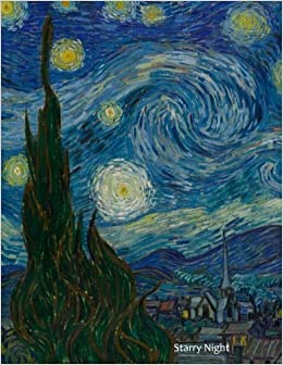 starry night vincent van gogh diary notebook journal 85 x 11 inch 100 lined pages
