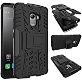 TARKAN Dazzle Hard Armor Hybrid Rubber Bumper Flip Stand Rugged Back Case Cover for Lenovo K4 Note/X3 Lite (Black)