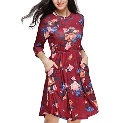 Mujer vestido Otoño casual moda elegante 2018,Sonnena Vestido de fiesta casual con bolsillo y cremallera color sólido tres cuartos manga vestido de mujer ...