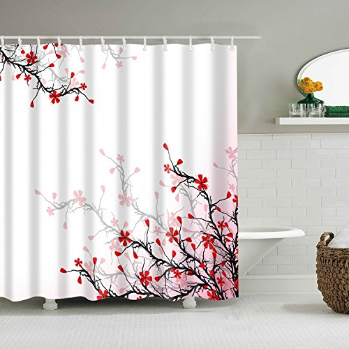 ColourLife Beautiful Blossom Cherry On Pink Shower Curtains 72 x 72 Inches Bathroom Decor Polyester Fabric Waterproof Mildew Resistant Bath - Curtain Cherry Blossom Shower