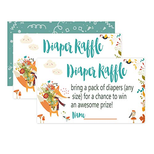 50 Woodland Creature Diaper Raffle Tickets for Baby Shower Invitation Inserts, Baby Shower Game Cards. ()