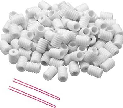 White, 100pcs Cord Locks Silicone Toggles for Drawstrings Elastic Cord T.face Silicone Adjustment