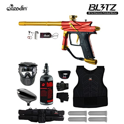 MAddog Azodin Blitz 3 Starter Protective HPA Paintball Gun Package - Orange (Pistol Compressed Air)