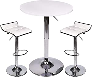 Bar Table Set of 3 - ARTETHYS Adjustable Round Table and Swivel Adjustable Barstools Set for Home Kitchen and Bistro (White Table+White Stools)