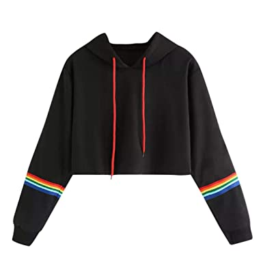 db70a9e70a5 Crop Hoodie, Women Teen Girls Cute Rainbow Striped Hoodie Sweatshirt Crop  Tops Long Sleeve Pullover Shirts