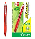 Pilot BeGreen RexGrip Retractable Ball Point Pens, Medium Point, Red Ink, Dozen Box (32372)