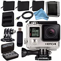 GoPro HERO4 Black + Rechargeable Battery + Dual Battery Charger + Case for GoPro HERO4 and GoPro Accessories + Tripod Adapter