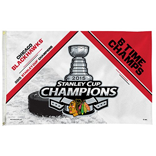 Chicago Blackhawks 2015 Stanley Cup Six Time Champions 3'x5' Flag