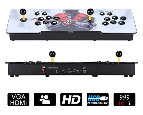 999 Classic Video Game Console Double Stick 2 Players Arcade Game Console for Pandora's Box 5S Arcade Console with HDMI VGA USB for TV PC Retro Arcade Gaming Console Black (999in1, Balck, 2 Players)