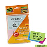 Flashsticks Booster Spanish Beginner Post-it Notes (200 words) | Fun and Effective way to make language learning part of your daily routine + FREE App with video Tutor to improve your pronunciation.