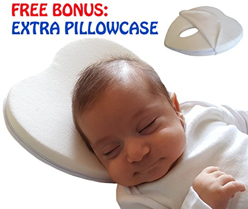 Baby Head Shaping Memory Foam Pillow with EXTRA Breathable 100% cotton pillowcase.Super Soft for Infants Newborns. Prevents Flat Head Syndrome. UNIQUE Gift for Baby shower and Christmas. BE - Head Shapes Different