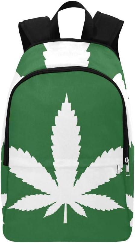 Ícono de Hoja de Marihuana Ícono de Cannabis Mochila Informal Bolsa de Viaje Mochila Escolar para Hombres y Mujeres
