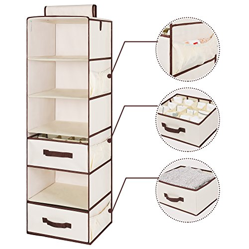 StorageWorks Hanging Closet Organizer, Foldable Closet Hanging Shelves with 1 Drawer & 1 Underwear Drawer, Polyester Canvas, Natural, 6-Shelf, 13.6x12.2x42.5 inches