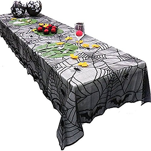 Outtymate Halloween Lace Tablecloth/ Mantle Cover,Black Lace Spiderweb for Festive Halloween Parties, Decoration