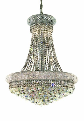 Elegant Lighting 1800D24C/RC Primo 32-Inch High 14-Light Chandelier, Chrome Finish with Crystal (Clear) Royal Cut RC Crystal - Light Beautiful Crystal Chandelier