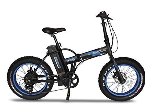 Emojo Lynx Folding Electric Bicycle 500W 36V or 48V E-Bike 20 X 4.0 Fat Tire Bike (PRO Black/Blue) For Sale
