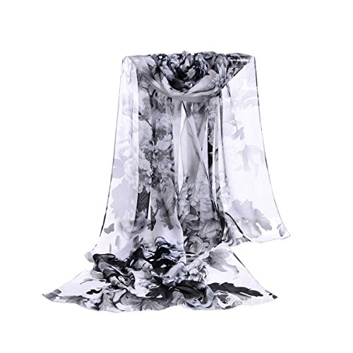 E-Clover Women Soft Floral Print Shawl Chiffon Sheer Scarf (Black&white) - Sheer Floral Scarf