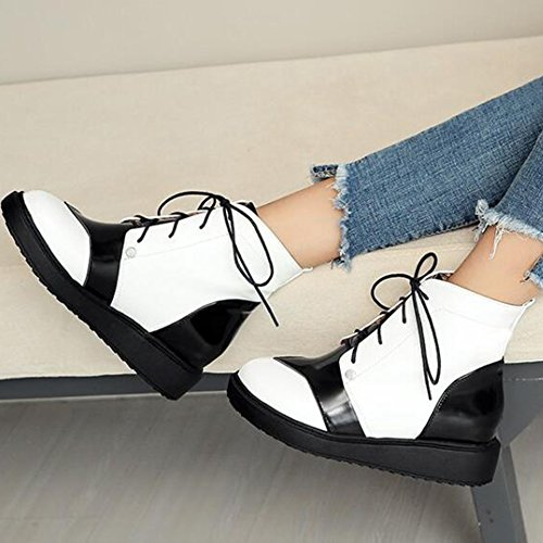 Easemax Womens Trendy Contrasting Color Round Toe Low Wedge Heel Lace Up Boots White h7u5H01zd