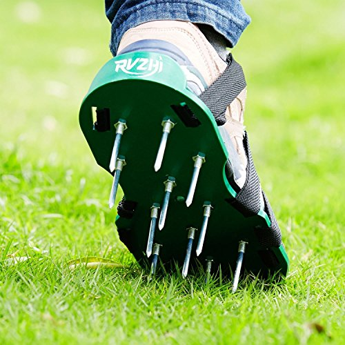 RVZHI Lawn Aerator Shoes with 4 Straps and Heavy Duty Metal Buckles - Spiked Sandals Shoes Garden Tool (Black) by RVZHI (Image #5)