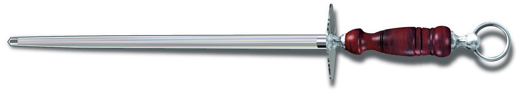 Victorinox Honing Steel 14-Inch Round Fine Cut, Dark Wood Handle