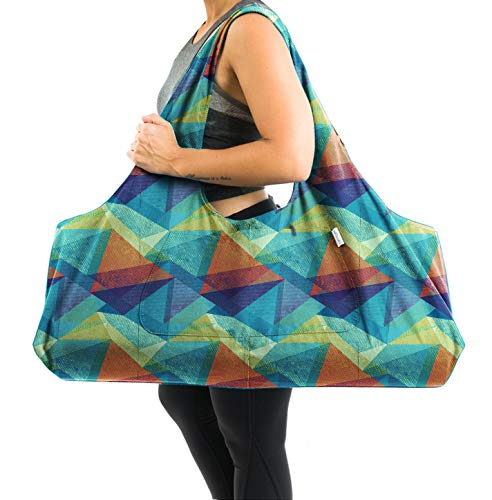 Yogiii Large Yoga Mat Bag | The Original YogiiiTotePRO | Large Yoga Mat Tote Sling Carrier with Side Pocket | Fits Most Size Mats (Geometric)