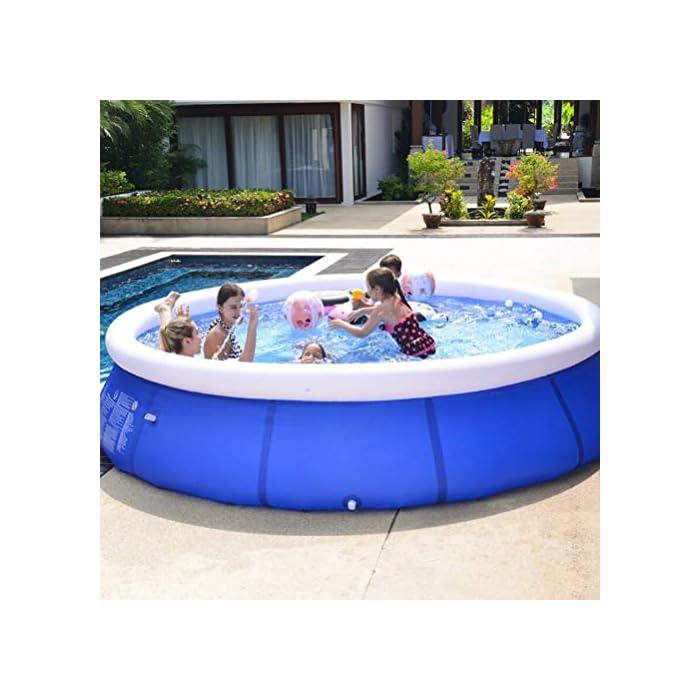 51CsXvycwyL Fácil de instalar: nuestra piscina es fácil de instalar, y llene la piscina inflable con agua unos diez minutos. Diferentes capacidades: las piscinas de diferentes tamaños pueden contener diferentes números de personas, 6 pies x 29 pulgadas pueden contener 2 niños; 8 pies x 30 pulgadas pueden contener 3 niños; 10 pies x 30 pulgadas pueden contener 4 ~ 5 niños; 12 pies x 30 pulgadas pueden contener 5 ~ 6 niños. Por favor elige el tamaño que necesitas. Duradero: nuestras piscinas exteriores están hechas de una capa intermedia de PVC de protección ambiental de alta calidad, protección ambiental e inofensiva. Puede disfrutar de la piscina con su familia en el terreno plano del patio trasero.