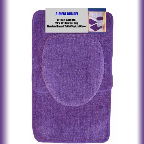 "PURPLE 3-Piece Bathroom Set: 1-19"" x 31"" Bath Mat/Rug, 1-19"" x 18"" Contour Mat/Rug, 1-Toilet Seat Lid Cover-Standard Round. Non-Slip/Non-Skid."