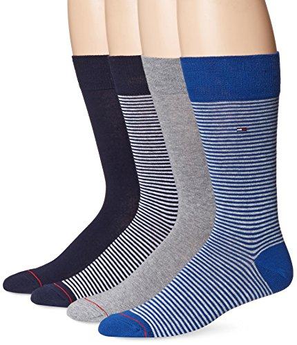 Tommy Hilfiger Men's 4 Pack Fine Bar Stripe Crew Sock,Black/Grey/Blue,Sock Size: 10-13/Shoe Size: 7-12 by Tommy Hilfiger (Image #1)