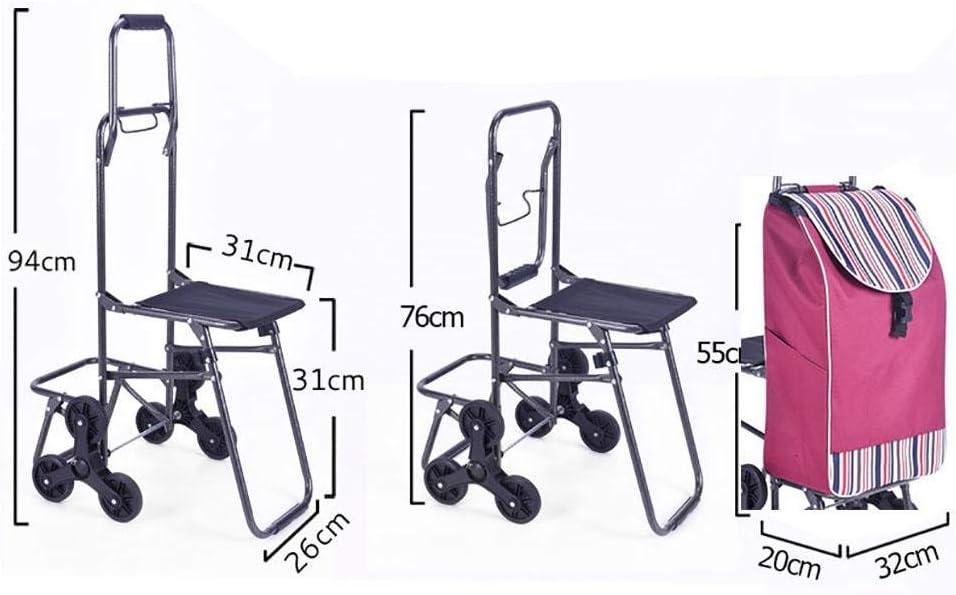MRZHW Trolley Dolly Shopping Cart Lightweight Trolley Folding 6 Wheel Large Capacity Shopper Folding Chair,c