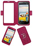 Acm SVIEW Window Designer Rotating Flip Flap Case for Micromax Bolt A82 Mobile Smart View Cover Stand Pink