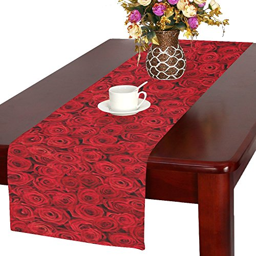 InterestPrint Plenty Red Natural Rose Polyester Long Table R