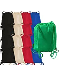 Pack of 12 Large Size Non-Woven Budget Friendly Drawstring Bags, Backpacks 16W x 19.5H by Bagzdepot