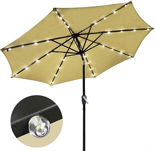 9 Solar Aluminium Outdoor Tilt Patio Umbrella w 32 LEDs Tan