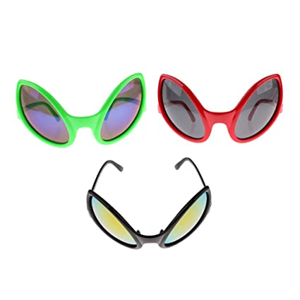 cb0a766592 Image Unavailable. Image not available for. Color  Homyl Pack of 3pcs Fashion  Fun Alien Sunglasses Party ...