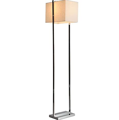 Dhxy Modern Hotel Style Floor Lamp Square Fabric Shade Polished