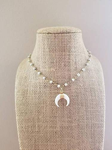 White Crescent Horn Necklace Beaded Rosary Chain