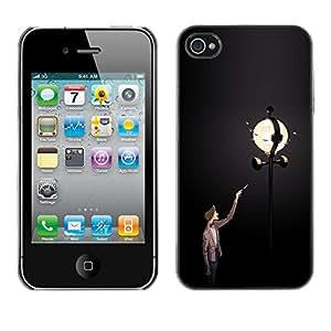 GOODTHINGS Funda Imagen Diseño Carcasa Tapa Trasera Negro Cover Skin Case para Apple Iphone 4 / 4S - después el hombre lámpara luz de la calle oscura noche de luna