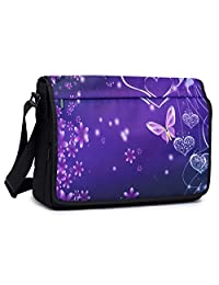 Meffort Inc 17 17.3 Inch Compact Padded Compartment Multi-Pocket Shoulder Messenger Crossbody Hybrid Traveling Bag - Purple Heart Butterflies S2